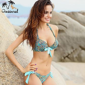 Queenral push up Bra Sexy Leopard Lady Girl Women's biquini franja Bras Set Push Up bodysuit Swimsuit Bathing Suit Swimwear