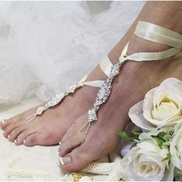 SJ3 ENCHANTED BRIDE ivory ribbon rhinestone Barefoot sandals