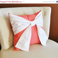 CYBER MONDAY SALE Throw Pillow White Bow on Coral Pillow 14x14 -Coral Home Decor-