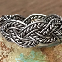 Sterling Silver Braid Stacking Band Ring Thumb