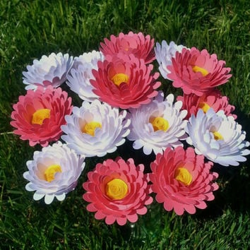 Paper Flower Bouquet - 12 Pink and White Daisies - Handmade Paper Flowers for Brides, Weddings, Showers, Birthdays