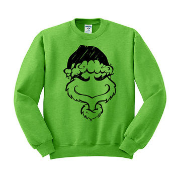 Crewneck - Grinch Head - Christmas Sweater Jumper Pullover Womens Ladies Outfit Oversized
