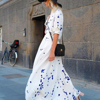 White Splash Print Shirt Collar Maxi Dress