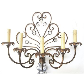 Italian Tole Wall Sconce Glass Vase Bloom Flower Medallions Scrolled Five Lights Branches