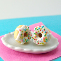 Food Jewelry with Rainbow Sprinkles Vanilla Bean Icing - MADE TO ORDER Post Earrings Donut Earrings Food Earrings