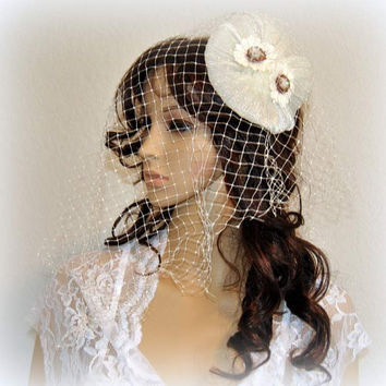 Wedding Headpiece Millinery Bridal Headband Princess Hatinator Flapper Cream Ivory Flower Fascinator Headdress Top Hat Fascinators