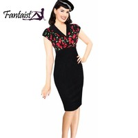 Women Vintage Rockabilly Notched Collar Empire Waist Elegant Evening Party Patchwork Print Bodycon Tunic Dots Summer Dress 2016