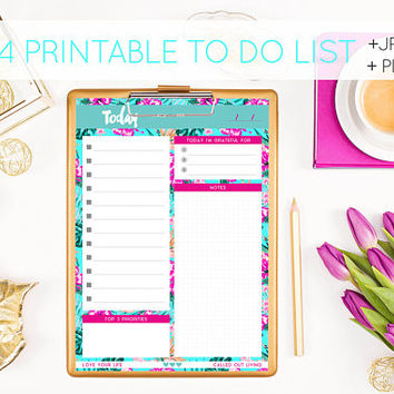 Printable to do list - Digital Download - A4 Tropical brights hibscus hawaii print - Pdf & Jpg files