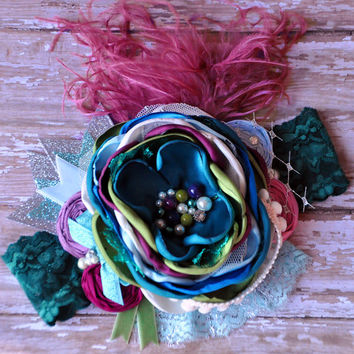 Once upon a dream boutique couture headband- Persnickety Fall 2014-Daisy Jumper accessory-photo prop-French vintage inspired-birthday-
