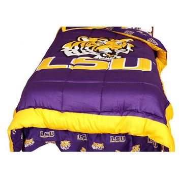 NCAA Louisiana State Tigers Collegiate Comforter and Pillow Sham Set LSU College Logo Bedding