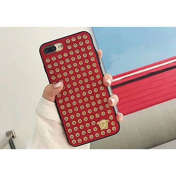Versace iphone6s Mobile Shell 7plus Cool Rivet 8Plus Case F-OF-SJK red
