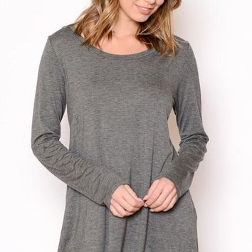 Keep It Simple Tunic - Charcoal