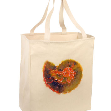 Nautilus Fossil Watercolor Large Grocery Tote Bag