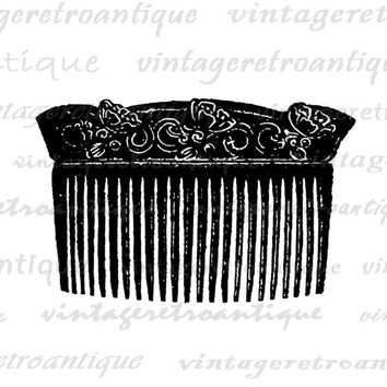 Printable Image Ladies Comb Graphic Illustration Digital Download Antique Clip Art Jpg Png  HQ 300dpi No.1395