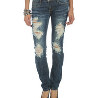 Destroyed High Waist Skinny Jean - Teen Clothing by Wet Seal
