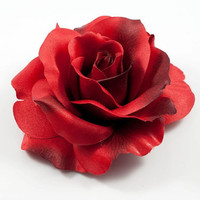 Large Red Rose Flower hair Clip