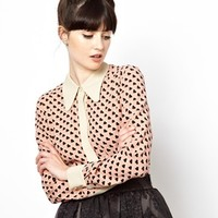 Orla Kiely Shirt in Sweetheart Print with Contrast Collar