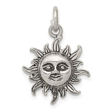 925 Sterling Silver Antiqued Sun Charm and Pendant