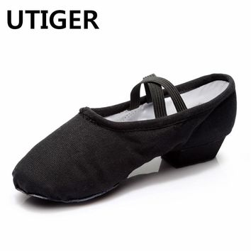 UTIGER Women's Canvas Practice Ballet Dancing Shoes Square Heel Teacher Practice Shoes 4 Colors Ladies Dance Shoes Soft Sole