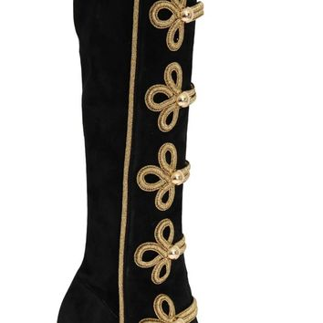 Black Suede Stretch Gold Boots