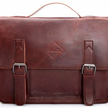 Zebella Vintage Pu Leather Briefcase Shoulder Business Laptop Messenger Bags Tote