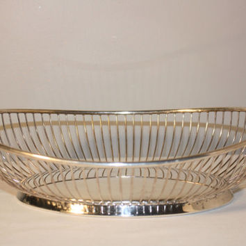 Silverplate Wire Basket by FB Rogers, Wire Bread Basket, Mid Century Wire Fruit Bowl, Oval Basket