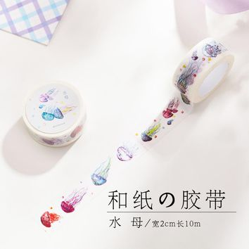 MIKIMOOD Jellyfish 2cm*10m Diary Notebook Planner Organizer DIY Decorative Stickers Japanese Cute Washi Tape Mashing Tape