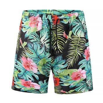 Mens Swim Trunks - Tropical Leafs Flowers Floral - Swimming Shorts Bathing Suits Swimwear Swimsuit Bathing Suit
