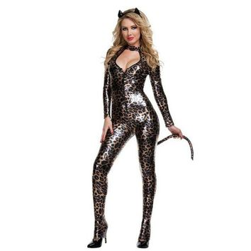 ONETOW Patent leather costumes _ sexy ladies wild cat Siamese cat girl cosplay party black Catwoman [8979056903]