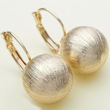 Gold Layered Women Ball Leverback Earring, by Folks Jewelry