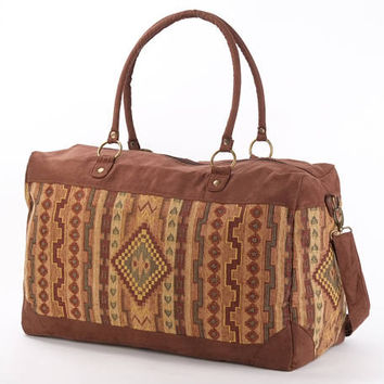 Large Tapestry Weekender Bag, Earthtone Kilim Overnight Bag, Navajo Festival bag, Large Vegan Bag