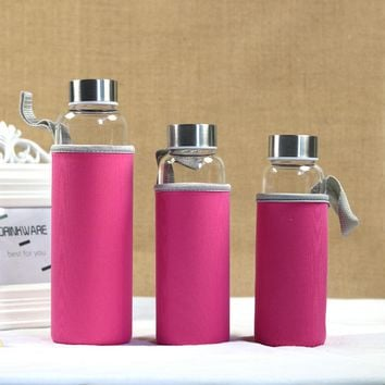 Glass Water Bottle With Protective Bag 280ml/360ml/500ml