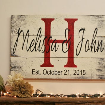 Name Sign Initial Sign Monogram Sign Pallet Sign Wedding Gift Bridal Shower Gift Housewarming Gift Anniversary Gift Shabby Chic Wall Decor