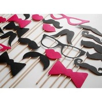 12 DIY Photo Booth Props Mustache on a Stick - Wedding Party Mustache Props - Set of 12