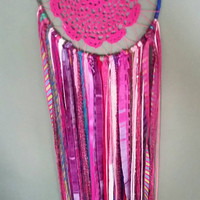 Hot Pink Dreamcatcher, Crocheted Dreamcatcher,Large Dreamcatcher, Wall Hanging, Wall Art, Doily Dreamcatcher, Home Decor