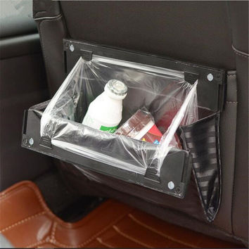 Foldable Car Organizer Car Seat Back Hanging Bag Trash Bag Holder Back Seat Car Trash Bin Garbage Bag Holder Rubbish Bag Pocket