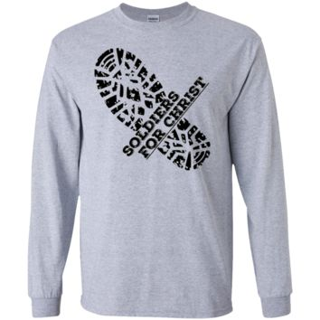 Men's single boot print Soldier for Christ long sleeve