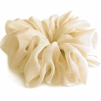 Light Beige Large Chiffon Scrunchies Stylish Accessories Hair Band Ponytail Holder Teen Girls Women