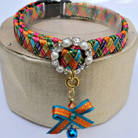 Designer Cat Collar Breakaway in Harlequin Colours
