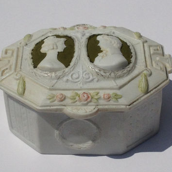 Vintage Early Jasperware Handmade Cameo Trinket Box Art Deco Romance