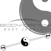 Stainless Steel Yin Yang Industrial Barbell 37mm | Body Candy Body Jewelry