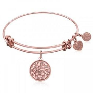 ac NOVQ2A Expandable Bangle in Pink Tone Brass with Celtic Round Completeness Self Symbol