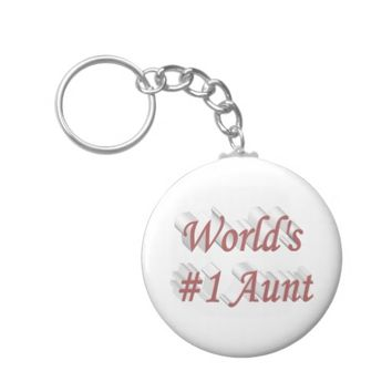 World's #1 Aunt 3D Key Chains, Pink Keychain