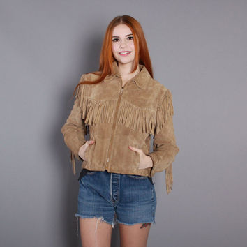 80s FRINGED Suede JACKET / 1980s Cropped Tiny Fit Tan LEATHER Western Jacket, xs s