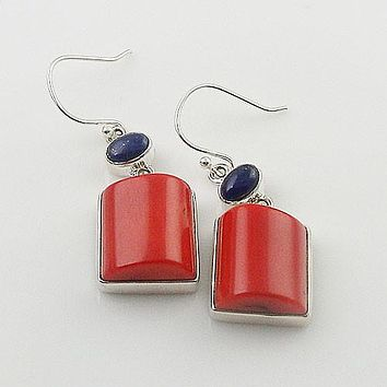 Coral & Lapis Sterling Silver Earrings
