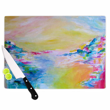 "Ebi Emporium ""Something About the Sea"" Yellow Multicolor Cutting Board"