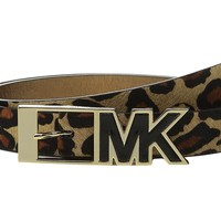 MICHAEL Michael Kors 25mm Haircalf Belt with Contrast Patent Inlay MK Buckle Large
