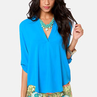 V-sionary Cornflower Blue Top