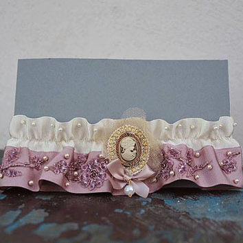 Wedding leg garter, Wedding Garter ,  Ribbon Garter , Wedding Accessory, Pink Lace accessories, Bridal garter