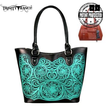 Trinity Ranch Turquoise Tooled Leather Purse by Montana West  TR42G-8304